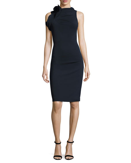 Badgley Mischka Sleeveless Open-Back Ponte Cocktail Dress, Navy
