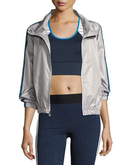 Heroine Sport Racing Wind-Resistant Athletic Jacket, Silver