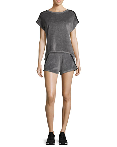 Gunmetal Velour Athletic Sport Shorts, Gray