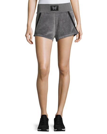 Heroine Sport Gunmetal Velour Athletic Sport Shorts, Gray