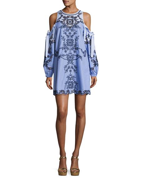 Parker Newton Lace-Trim Cotton Dress, Blue Pattern