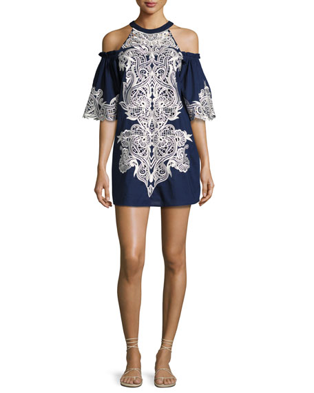 Parker Samantha Cold-Shoulder Embroidered Shift Dress, Blue Multi