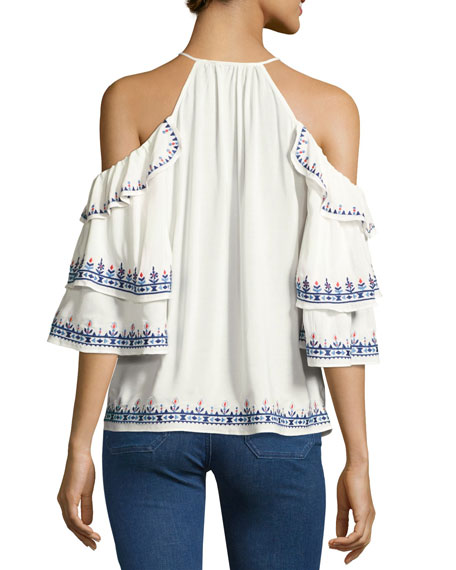 Cindy Embroidered Cold-Shoulder Blouse, White