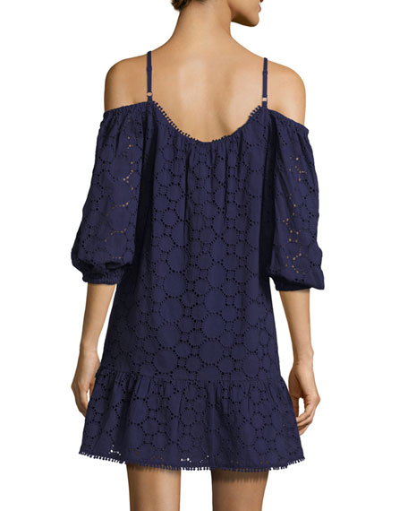 Henrietta Lace-Overlay Cotton Dress, Blue Pattern