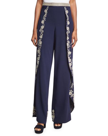 Alice + Olivia Larissa Embroidered Crepe Overlap Pants,