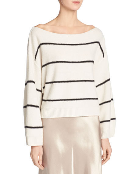 Wide-Stripe Cashmere Boat-Neck Sweater