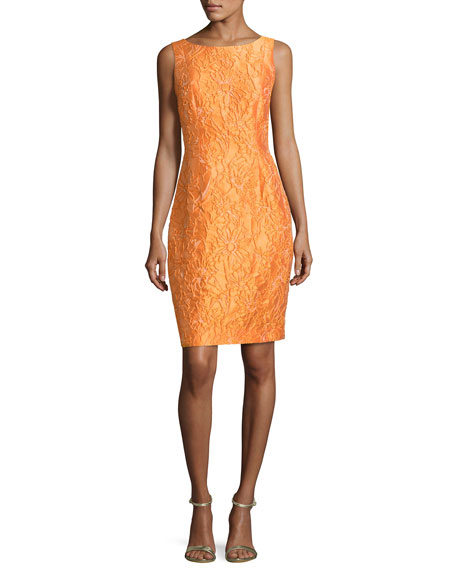 Sleeveless Floral Jacquard Cocktail Dress, Tangerine