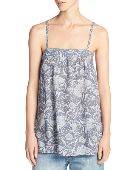 Vintage Floral Cotton Cami, Blue