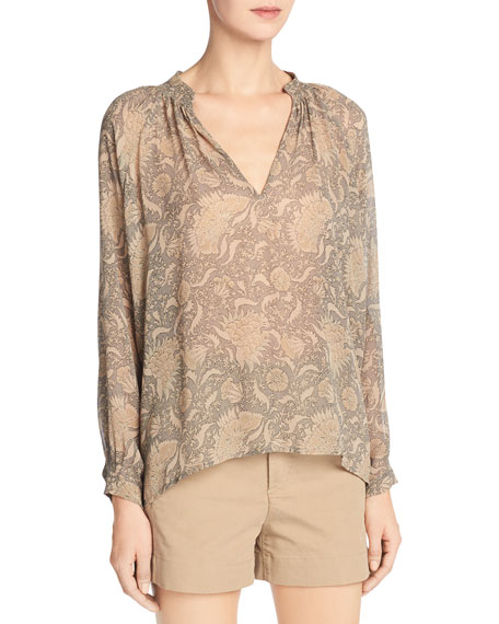 Vince Vintage Floral Pleat-Neck Silk Blouse, Natural