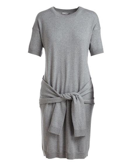 Short Sleeve Tie-Waist Sweater Dress, Gray