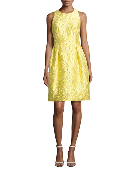 Carmen Marc Valvo Sleeveless Floral Brocade Cocktail Dress,
