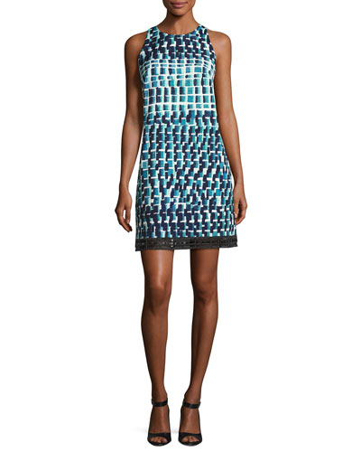 Sleeveless Geometric Cocktail Dress, Jade/Multicolor