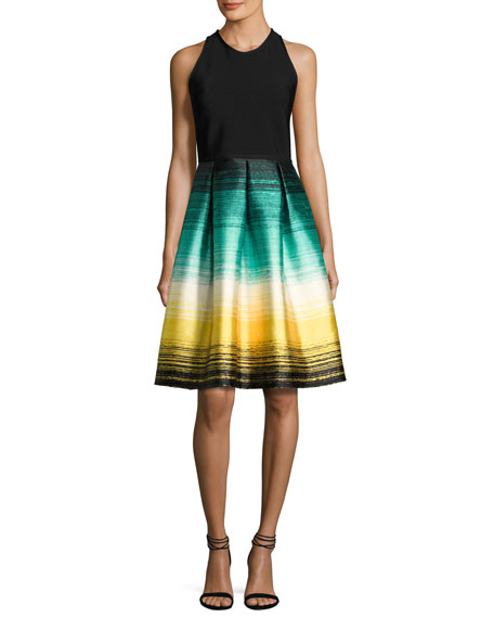Carmen Marc Valvo Sleeveless Ponte & Striped Taffeta