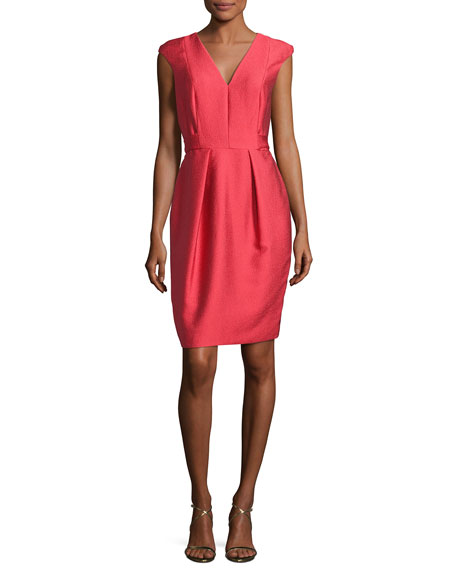 Cap-Sleeve Satin Jacquard Cocktail Dress, Red