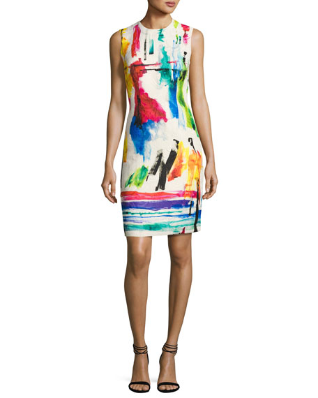 Sleeveless Printed Jacquard Cocktail Dress, Multicolor