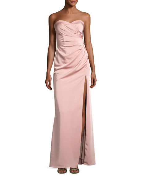 Faviana Strapless Stretch-Satin Sweetheart Column Gown, Pink