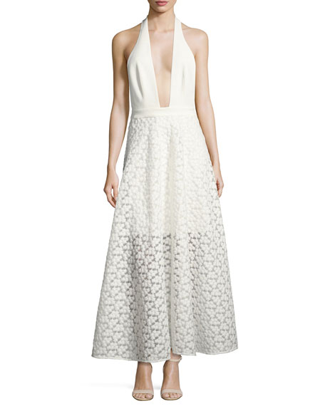 Carlie Floral Halter Evening Gown, White