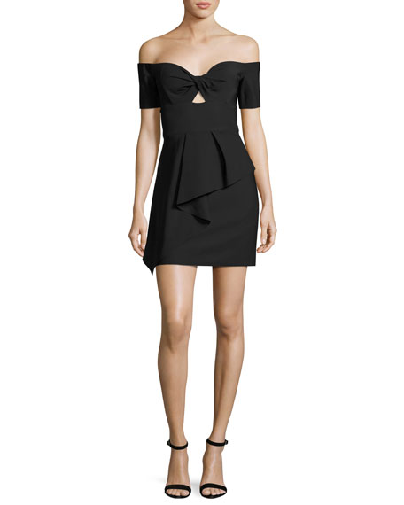 Milly Vanessa Off-the-Shoulder Peplum Cocktail Dress, Black