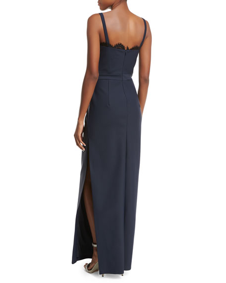 Karissa Sleeveless Lace-Trim Column Gown, Blue