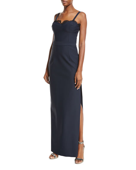 Milly Karissa Sleeveless Lace-Trim Column Gown, Blue