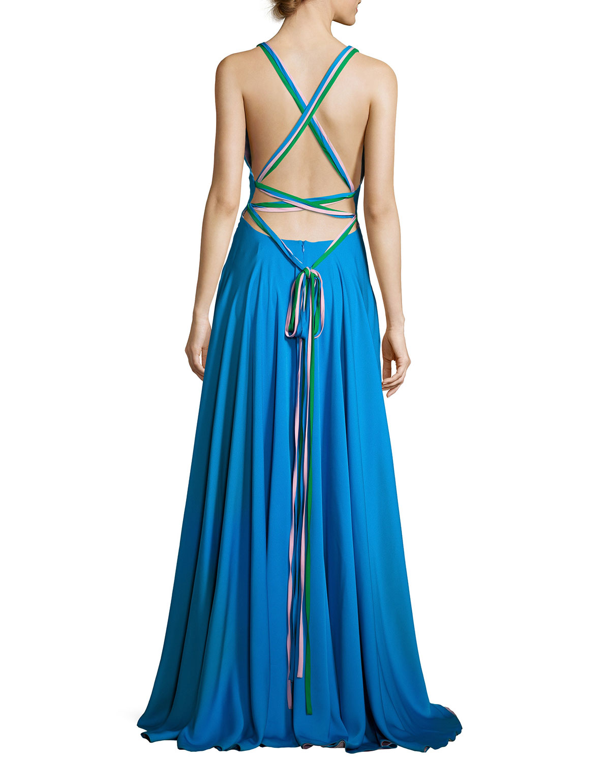 Milly Monroe Strappy Stretch Silk Gown, Blue/Multicolor | Neiman Marcus