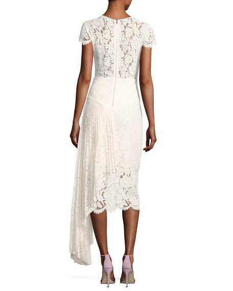 Margaret Cap-Sleeve Floral Lace Cocktail Dress, White