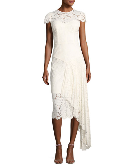 Milly Margaret Cap-Sleeve Floral Lace Cocktail Dress, White