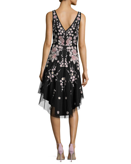 Sleeveless Embroidered Floral A-Line Dress, Black/Multicolor