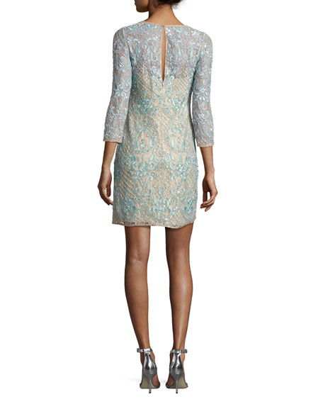 3/4-Sleeve Beaded Lace Cocktail Dress, Light Green