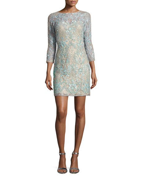 Aidan Mattox 3/4-Sleeve Beaded Lace Cocktail Dress, Light