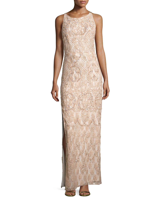 Aidan Mattox Sleeveless Beaded Lace Column Gown, Blush   Neiman Marcus