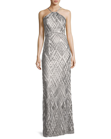 Aidan Mattox Sleeveless Geometric Jacquard Column Gown, Silver