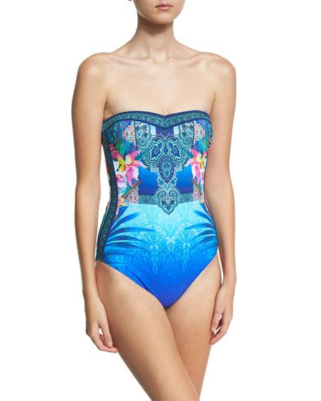 Gottex Oahu Bandeau One-Piece Swimsuit, Blue/Multicolor