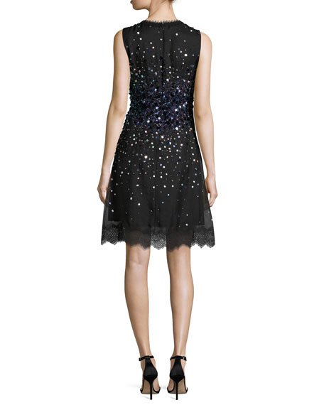 Fatimah Sleeveless Silk Ombre Sequin Cocktail Dress, Black