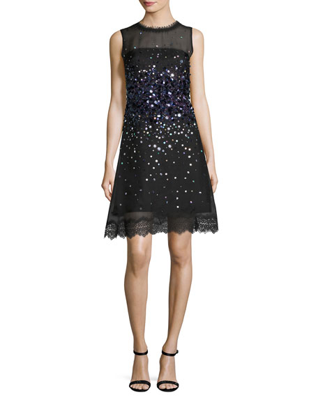Elie Tahari Fatimah Sleeveless Silk Ombre Sequin Cocktail