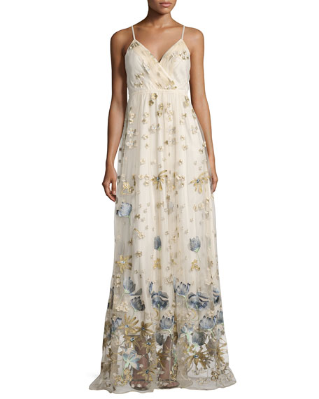 Sleeveless Metallic Floral Tulle Gown, Cream/Navy/Multicolor