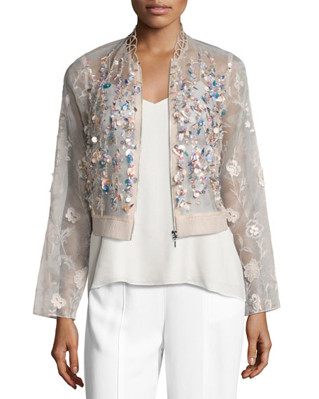 Elie Tahari Embroidered Silk Organza Jacket, Pink