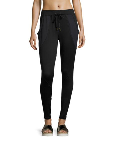 Drawstring-Waist Jersey Jogger Pants, Black