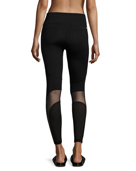 Siren Mesh-Panel Performance Leggings, Black