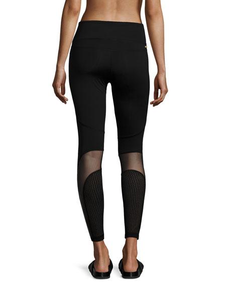 Siren Mesh-Panel Performance Leggings, Black