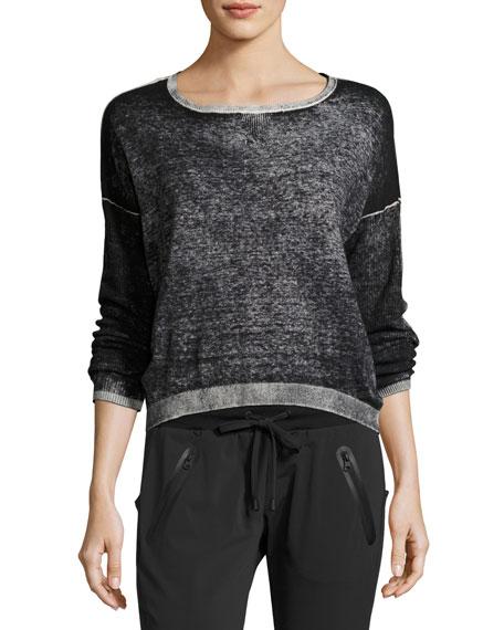 Blanc Noir Scoop-Neck Boyfriend Pullover Sweater, Black