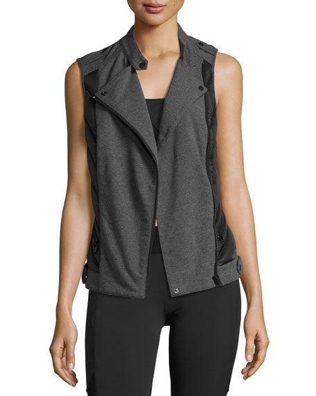 Blanc Noir Quilted Inset Moto Athletic Vest Black/Gray