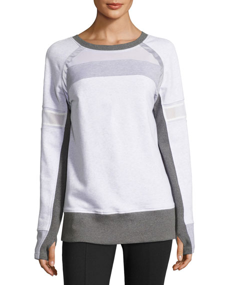 Blanc Noir Long-Sleeve Mesh Mix Pullover, White/Gray