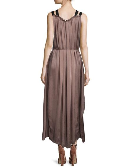 Laila Sleeveless Silk Charmeuse Maxi Dress, Mocha