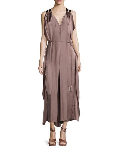 Tryb Laila Sleeveless Silk Charmeuse Maxi Dress, Mocha