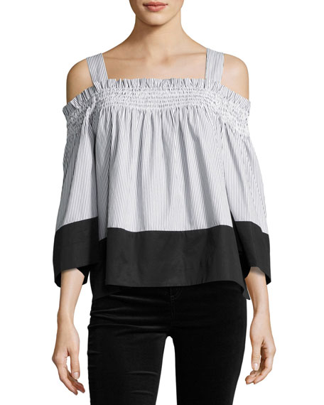 Kendall + Kylie Off-the-Shoulder Smocked Top, Black/White Stripe