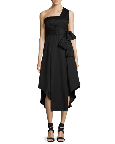 One-Shoulder Cotton Wrap Dress, Black