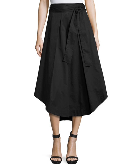 Kendall   Kylie A-Line Cotton Swing Skirt, Black