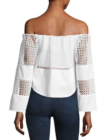 Off-the-Shoulder Circle Lace Crop Top, White