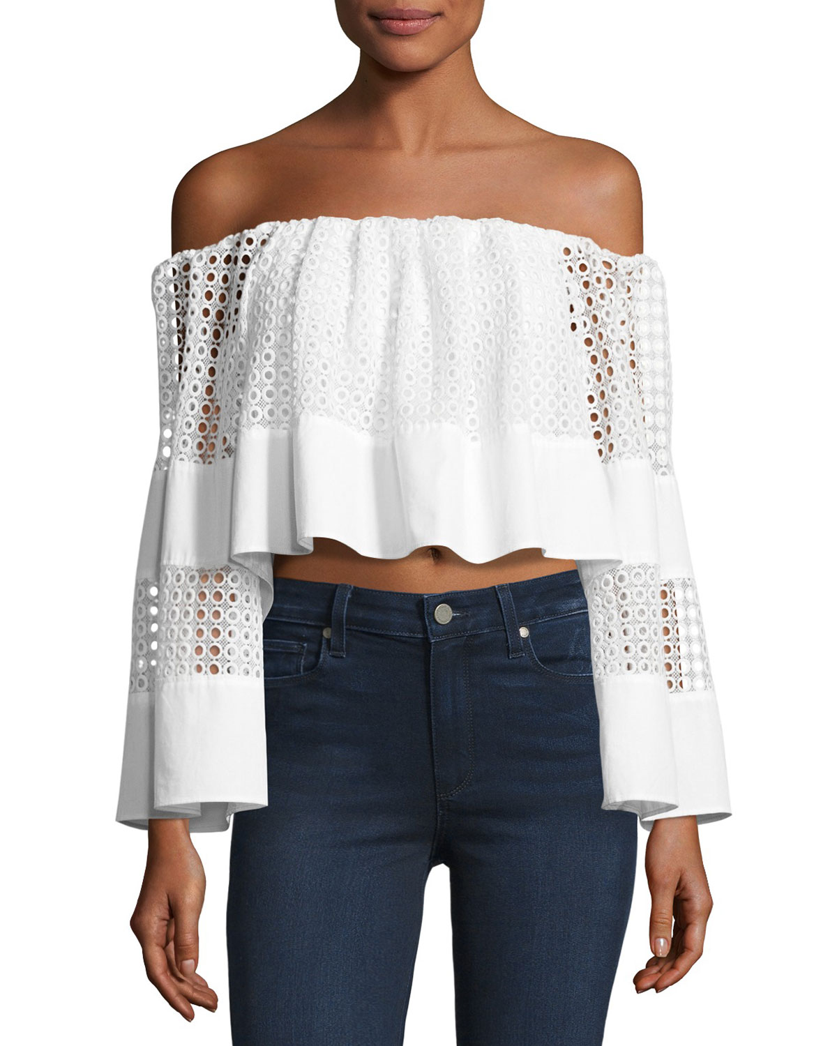 b4ad4b9c64459 Kendall + Kylie Off-the-Shoulder Circle Lace Crop Top